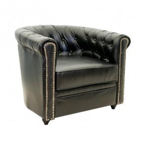 Кресло кожаное Karo black